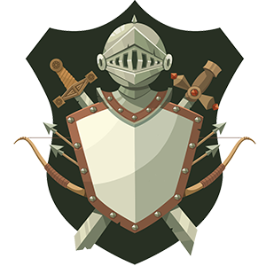 A knight's shield and helmet