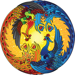 a blue bird and a red bird in a circle