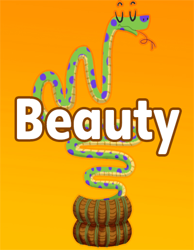 A charmer plays to a snake on the cover for Beauty