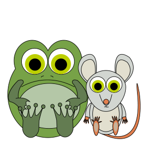 A frog and a mouse sitting side by side